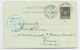FRANCE SAGE 10C CARTE  PARIS EXPO LE TROCADERO + PARIS EXPOSITION INVALIDES 9 OCT 00 POUR AUTRICHE - 1877-1920: Periodo Semi Moderno