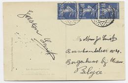FRANCE SEMEUSE 10C BLEU BANDE DE 3 CARTE DE LOURDES POUR BELGIQUE ANNULATION ROULETTE BELGE - 1906-38 Semeuse Con Cameo