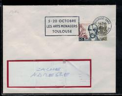 YT 1384  SSL/FR  OBL FL TOULOUSE 109/9/63  LES ARTS MENAGERS TOULOUSE 5-20 OCTOBRE - 1961-....