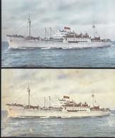 Cartolina ITALIA : Cartolina  NAVE SHIP TRAGHETTO Marco Polo Italia Navigazione Genova   .n.v. 2 Pz. - Andere