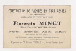 CARTE DE VISITE Florentin MINET - Construction Machines En Tous Genres : PANTIN - - Cartoncini Da Visita