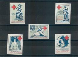 SERIE COMPLETE Des 5 VIGNETTES Du SSBM - COMITE De BELFORT - Croix Rouge - SECOURS Aux BLESSES MILITAIRES -TRES BON ETAT - Croix Rouge