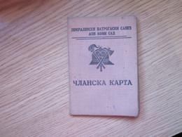 Clanska Karta Varogasni Savez Membership Card Fire Brigade  Szabadka Subotica - Historische Documenten