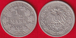 Germany 1/2 Mark 1907 E Km#17 Ag Silver - 1/2 Mark