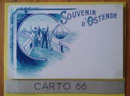 Belgique Ostende Oostende Souvenir - Pêcheurs Touristes - Signé I.A.SW Carte Bleutée - Oostende