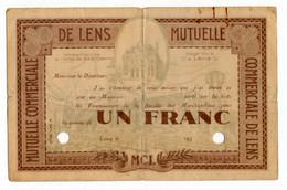 1930 & + // LENS (62) // MUTUELLE // Bon De Un Franc // ANNULE - Bonds & Basic Needs