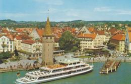 Cartolina GERMANIA : Lindau Nel Lago Di Costanza Svevia, Panorama Del Lago, Uscita Del Porto, Faro, Monumento Del Leone, - Andere