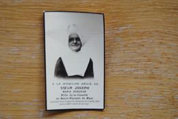 5499/Soeur JOSEPH -Maria DOSSOGNE  Fille Charité St-Vincent De Paul 3/3/32 - Décès