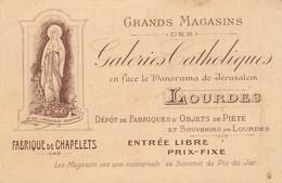Carte De Visite Des Grands Magasins Catholiques De LOURDES. Fabrique De Chapelets. - Cartoncini Da Visita