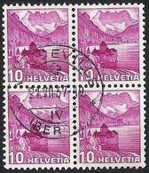 Schweiz Suisse 1937: Chillon (1936) Zu 203y Mi 299Iy Yv 281 (glatt/lisse) Mit O NEUVEVILLE 21.VII.37 BERN (Zu CHF 48.00) - Used Stamps