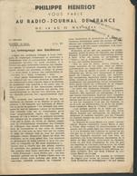 """Fascicule De 240 Pages """"Philippe Henriot Vous Parle Au Radio Journal De France , Du 16 Au 22/05/1944 -   Fau 11208 - Historische Documenten"""