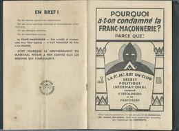 """Propagande Sous PETAIN ,fascicule De 12 Pages """" Pourquoi A T On Condamné La Franc-maçonnerie ? -  Fau 11211 - Historische Documenten"""