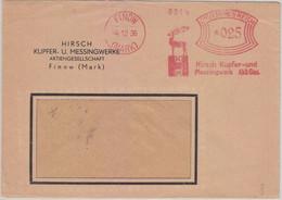 DR - Finow (Mark) 1936 25 Pfg. AFS Hirsch Kupfer- U. Messingwerk-AG Brief - Machine Stamps (ATM)