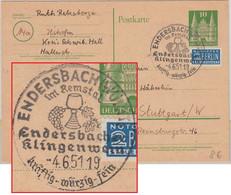 BRD - Enderbacher Klingenwein Handwerbestpl. Ganzsache Endersbach 1951 - Unclassified
