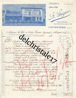 63 0099 COURPIERE PUY DOME 1936 Automobile A. SUGIER Marques PEUGEOT MICHELIN MOBILOIL Pl. Du Poids De Ville à PERRIN - Automovilismo