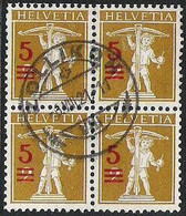Schweiz Suisse 1921: Fils De Tell-Knabe (1920) Zu 147 Mi 157 Yv 180 Block Mit Stempel ZOLLIKON 6.VIII.21 (Zu CHF 70.00) - Used Stamps