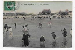 (RECTO / VERSO) BERCK PLAGE EN 1907 - N° 20 - CHALET ROTHSCHILD ET LA PLAGE AVEC PERSONNAGES - CPA COULEUR AVEC GLACAGE - Berck