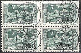 Schweiz Suisse 1917: Mythen 3 Fr (1914) Zu 129 Mi 121 Yv 142 Im Block Mit Stempel GENÈVE 15.VIII.17 (Zumstein CHF 40.00) - Used Stamps