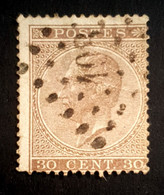 1865-1867 King Leopold L, Belgium, Belgique, België, Used - 1865-1866 Profile Left