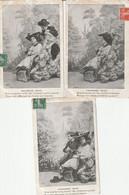 Série Complète 6 Cartes - Amoureuse Pêche- Couple Amour - 1908 - Petits Défauts - Unclassified