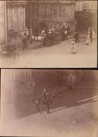 Vosges, Epinal, Eglise, Sortie De La Messe, Gendarme A Cheval, 1901, Lot De 2 Photos  (bon Etat)  Dim : 12 X 9. - Places