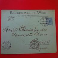 LETTRE WIEN BRUDER ALLINA GLOCKENGASSE POUR PARIS - Covers & Documents