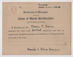 SCOTLAND ,UNIVERSITY OF GLASGOW,CLASS OF NAVAL ARCHITECTURE ,LECTURES JUNIOR ,1942 - Historische Documenten