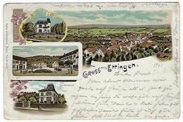 SUISSE - LITHOGRAPHIE - Sehr Sehr Selten - GRUSS AUS ETTINGEN - 1901 - Multivue - BL Bâle-Campagne