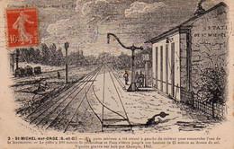 S38-022 Saint Michel Sur Orge - Station De St Michel Sur Orge - Puits Artésien Pour La Locomotive - Gravure Sur Bois - Saint Michel Sur Orge