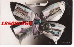 MESSINA - MULTIVEDUTE LIBERTY DONNA CON FARFALLA F/PICCOLO VIAGGIATA - Messina