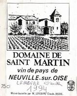 SELECTION // ETIQUETTE DE VIN //  DOMAINE DE SAINT MARTIN  A NEUVILLE SUR OISE 1994 - Non Classificati