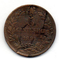 ITALIA, 5 Centesimi, Copper, Year 1895, KM #31 - 1878-1900 : Umberto I