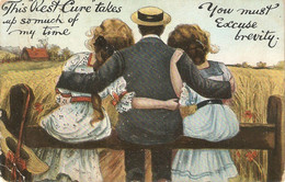 """""""Man With Two Ladies. This Best Cure...""""  Old Vintage English Postcard - Unclassified"""