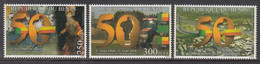2010 Benin 50th Anniversary Independence Costumes Flags Dance Tractor DIFFICULT Complete Set Of 3 MNH - Bénin – Dahomey (1960-...)
