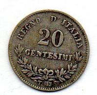 ITALIA, 20 Centesimi, Silver, Year 1863-T, KM #13.2 - 1861-1878 : Victor Emmanuel II
