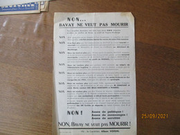 "TRACT ELECTORAL DU CANDIDAT ALBAN VOISIN ""NON...BAVAY NE VEUT PAS MOURIR"" - Historische Documenten"