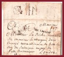 """1726 Piemonte, Lettera """"di Sfroso"""" Da Torino A Londra Vedi Descrizione - ...-1850 Voorfilatelie"""