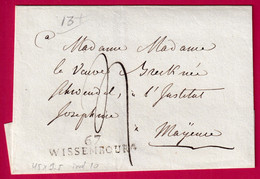 MARQUE 67 WISSEMBOURG BAS RHIN POUR MAYENCE ALLEMAGNE - 1801-1848: Precursori XIX