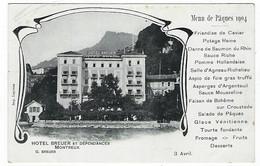 SUISSE - MONTREUX - HOTEL BREUER ET DEPENDANCES - Menu De Pâques 1904 - - VD Vaud