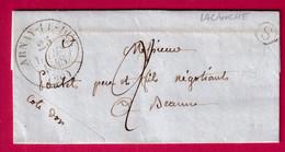 CAD TPE 13 ARNAY LE DUC COTE D'OR BOITE RURALE S LACANCHE POUR BEAUNE 1848 - 1801-1848: Precursori XIX