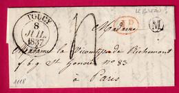 CAD TYPE 13 TOUCY YONNE BOITE RURALE M LE BREAU ?? DECIME RURAL POUR PARIS 1837 - 1801-1848: Precursori XIX