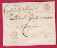 CAD TYPE 13 LA VERPILLIERE BOITE RURALE ROUGE K ST GEORGES D'ESPERANCHE DECIME RURAL POUR BOURGOIN - 1801-1848: Precursori XIX