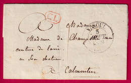 CAD TYPE 15 VESOUL HAUTE SAONE 1838 CL ROUGE TAXE LOCALE 1 POUR CALMOUTIER - 1801-1848: Precursori XIX