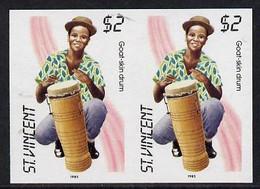 St Vincent 1985 Musical Instruments $2 (Goat-Skin Drum) Imperf Pair (SG 908var) - St.Vincent (1979-...)
