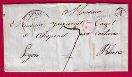 CAD TYPE 14 LINAS SEINE ET OISE BOITE RURALE A LORMOY LORMOIS DECIME RURAL ROUGE POUR LYON 1844 - 1801-1848: Precursori XIX