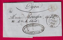 CAD TYPE 14 JUSSEY HAUTE SAONEBOITE RURALE E CORRE + DECIME RURAL POUR DIJON - 1801-1848: Precursori XIX