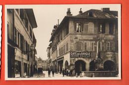 ZQA-23 RARE Nyon Grande'Rue. Café De La Banque, TRES ANIME. Non Circulé Soc. Graphique 3126 - VD Vaud