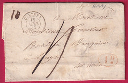 CAD TYPE 15 CINTREY HAUTE SAONE BOITE RURALE F MOLAY DECIME RURAL POUR LANGRES 1845 DOUBLE PORT TAXE 4 POIDS 10 GRAMMES - 1801-1848: Precursori XIX
