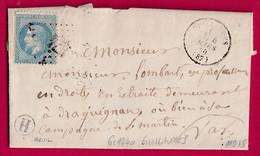 N°29 GC 1740 GUILLAUMES ALPES MARITIMES CAD TYPE 16 BOITE RURALE H BEUIL DRAGUIGNAN - 1849-1876: Periodo Clásico