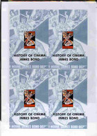 Turkmenistan 1999 History Of The Cinema Uncut Imperforate Proof Sheet Four James Bond S/sheets Partly Separated And Smal - Turkménistan